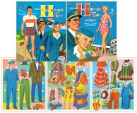 Airline Hostess and Pilot Paper Dolls