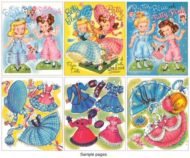 Betty Blue and Patty Pink Paper Dolls - Click Image to Close