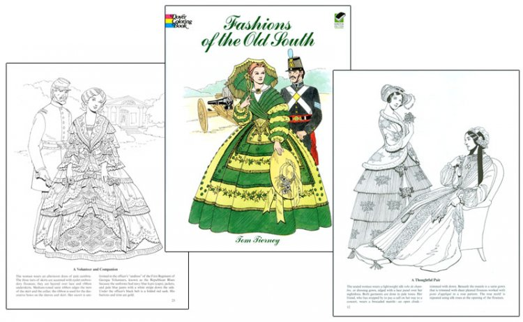 Fashions Of The Old South Coloring Book Elaborate Fashions