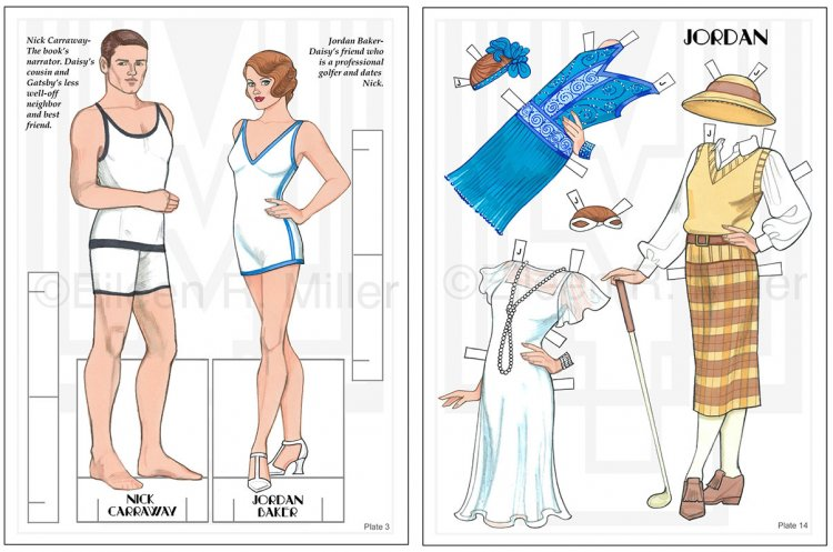 The Great Gatsby Fashion Paper Dolls plus Pool Backdrop - Click Image to Close