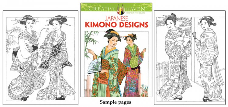 Japanese Kimono Designs Coloring Book - Click Image to Close