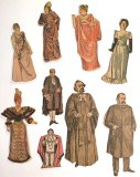 9 Antique Paper Dolls Dressed in Costumes - ONE ONLY