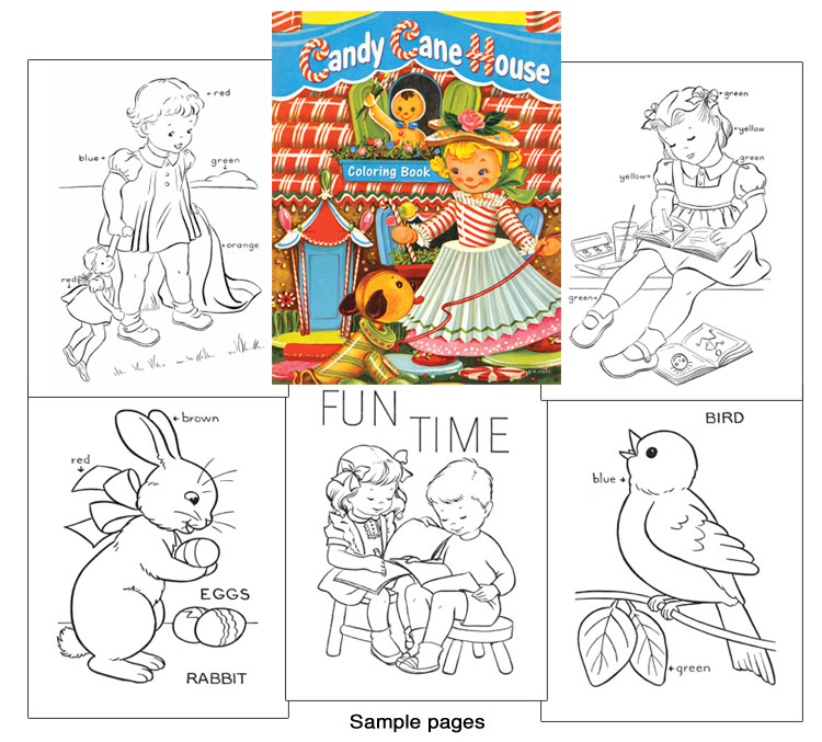 Candy Cane House Coloring Book [Old Fashioned Coloring Book ...