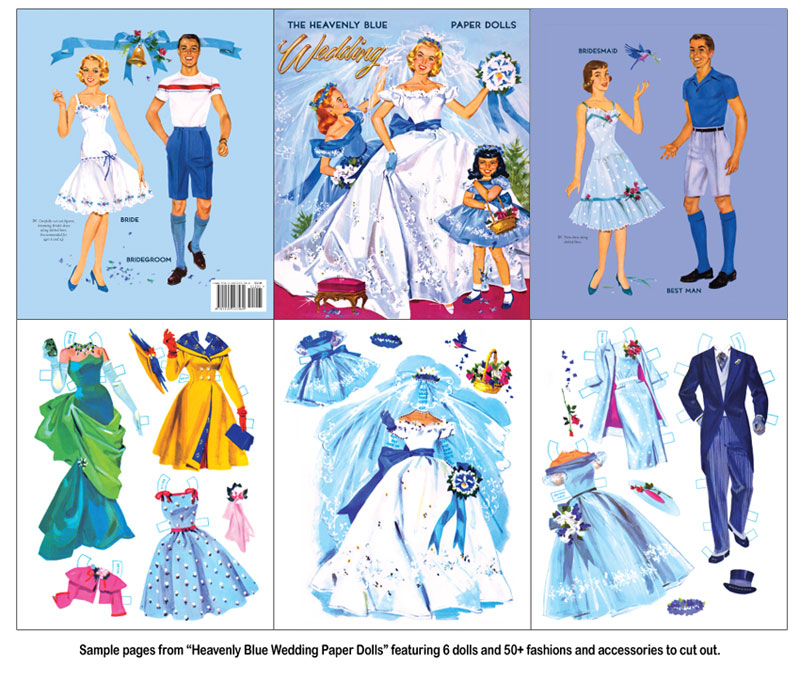Heavenly Blue Wedding Paper Dolls - Click Image to Close