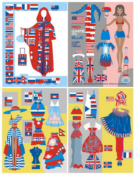 Red White and Blue Global Flag Fashion Paper Dolls