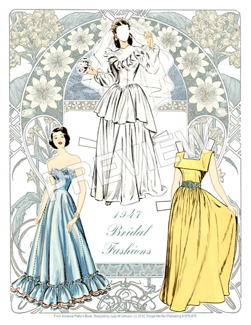 Bridal Fashions of 1947 Paper Dolls