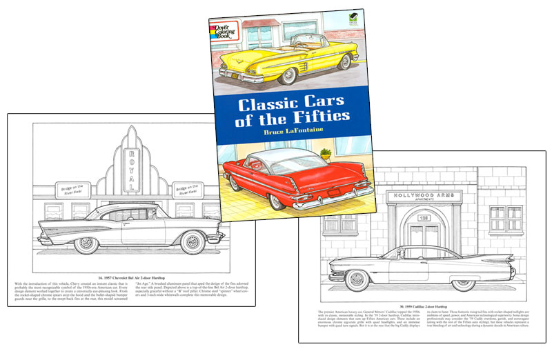 Classic Cars of the Fifties Coloring Book [Vintage car coloring book ...