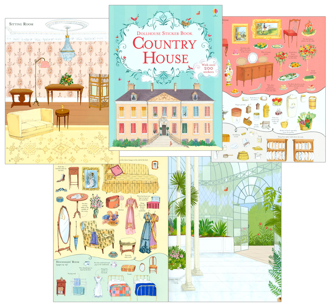 Country House Dollhouse Sticker Book