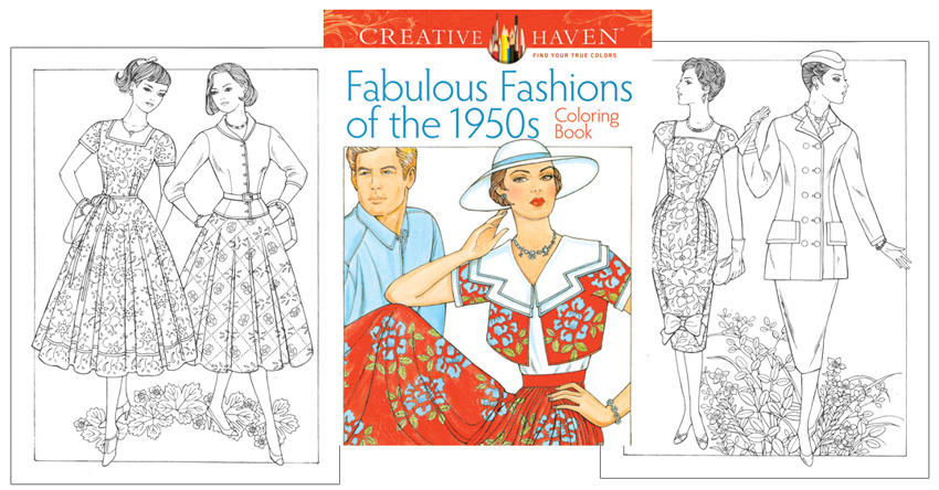 Coloring Book For Fashion : Amazon.com: creative haven fabulous fashions of the 1950s coloring