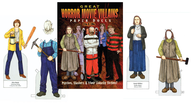 great horror movie villains paper dolls scary movie characters