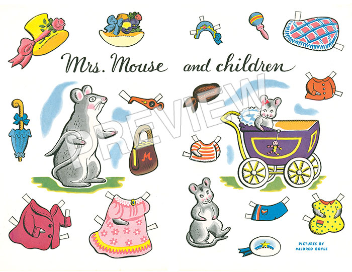 Mrs. Mouse and Children Paper Dolls