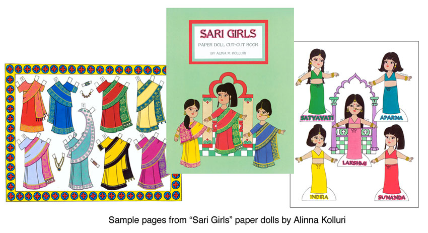 Sari Girls Paper Dolls AsianIndian Costumes  Paper Dolls Of