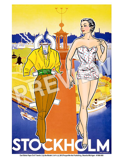Stockholm Paper Doll Travel Print - Click Image to Close
